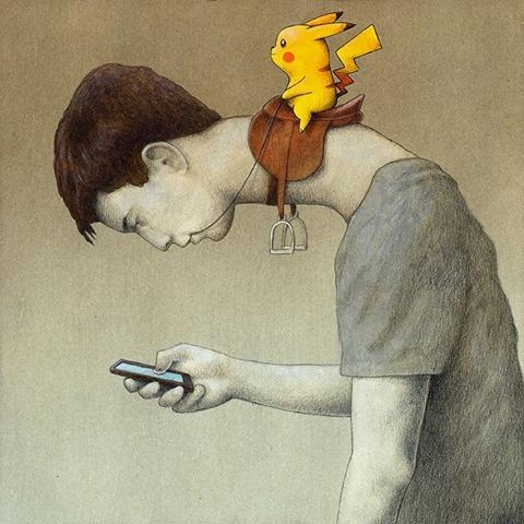 """Temo il giorno in cui la tecnologia andrà oltre la nostra umanità: il mondo sarà popolato allora da una generazione di idioti. _ Albert Einstein _ """"Control"""", Pawel Kuczynski."""