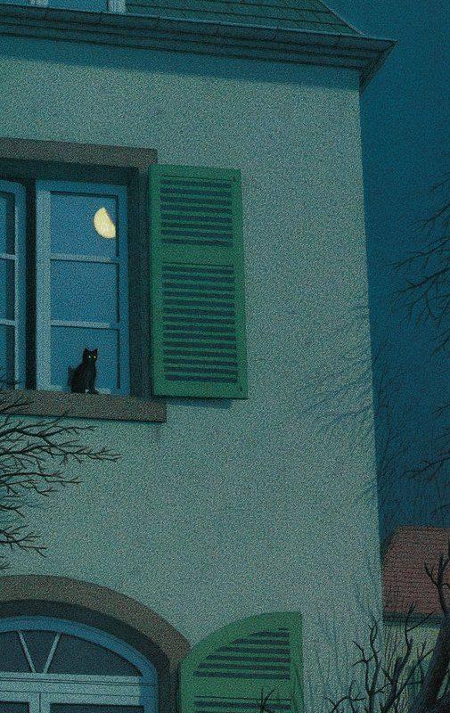 """Anche se la finestra è la stessa non tutti quelli che vi si affacciano vedono le stesse cose. La veduta dipende dallo sguardo. _ Alda Merini _ Quint Buchholz - """"Nachts vor dem Fenster (On the Windowsill at Night)""""."""