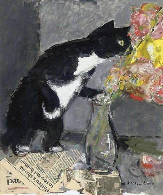 """La cura per la noia è la curiosità. E non ci sono cure per la curiosità. _ Dorothy Parker _ """"The Curious Cat"""", Ruskin Spear."""