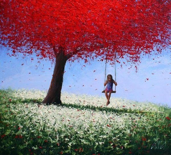 """La più grande ricchezza è saper bastare a se stessi. _ Epicuro _ """"The Girl on a Swing"""", Dima Dmitriev."""