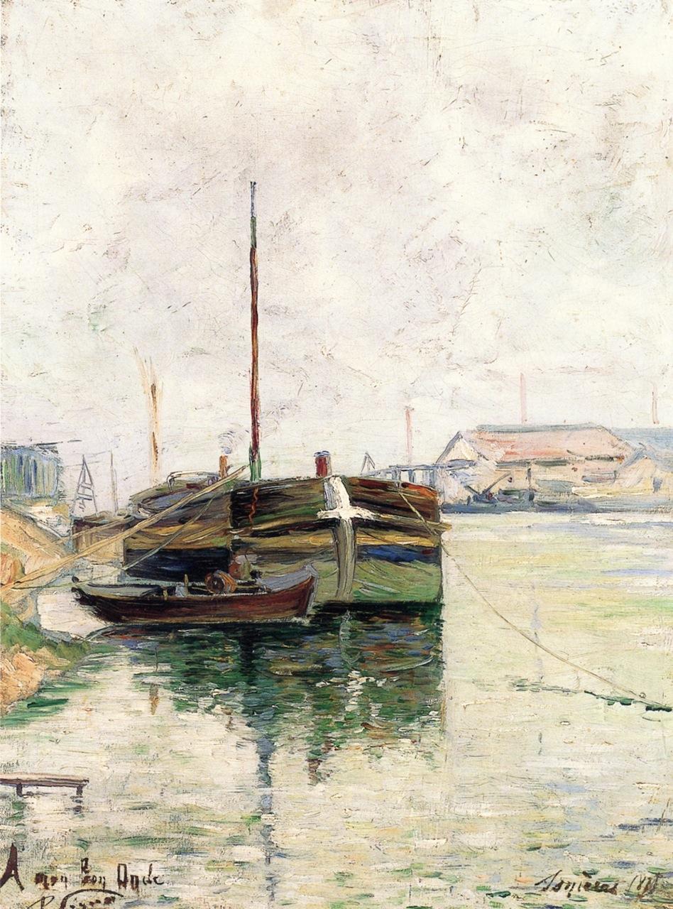 """""""Barges, Asnieres"""", 1883. Collezione privata."""