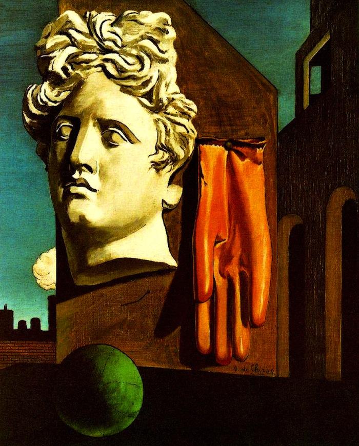 """""""Canto d'amore""""(1914), l'opera di Giorgio De Chirico che segnerà indelebilmente le opere di René Magritte."""