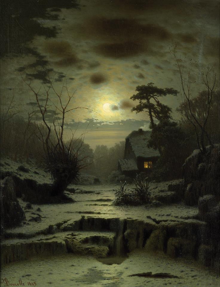 """Per tutti la vita è un ritorno a casa: commessi viaggiatori, segretari, minatori, apicoltori, mangiatori di spade, per tutti. Tutti i cuori irrequieti del mondo, cercano tutti la strada di casa. _ Patch Adams _ Louis Douzette, """"Winter Landscape"""" (1869)."""