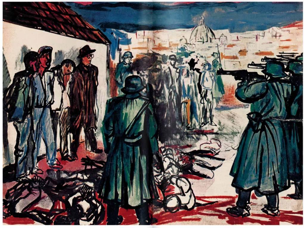 """""""Fucilazione a Roma"""", dalla raccolta """"""""Got mit Uns"""", pubblicata nel 1944."""