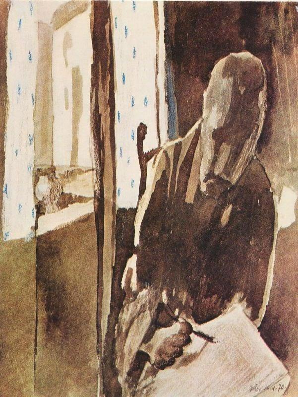 """""""Il disegnatore alla finestra"""". Autoritratto, 1909."""