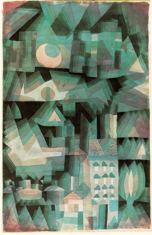 """""""Città di sogno"""", 1921. Acquerello su carta. Berlino, Staatliche Museen."""