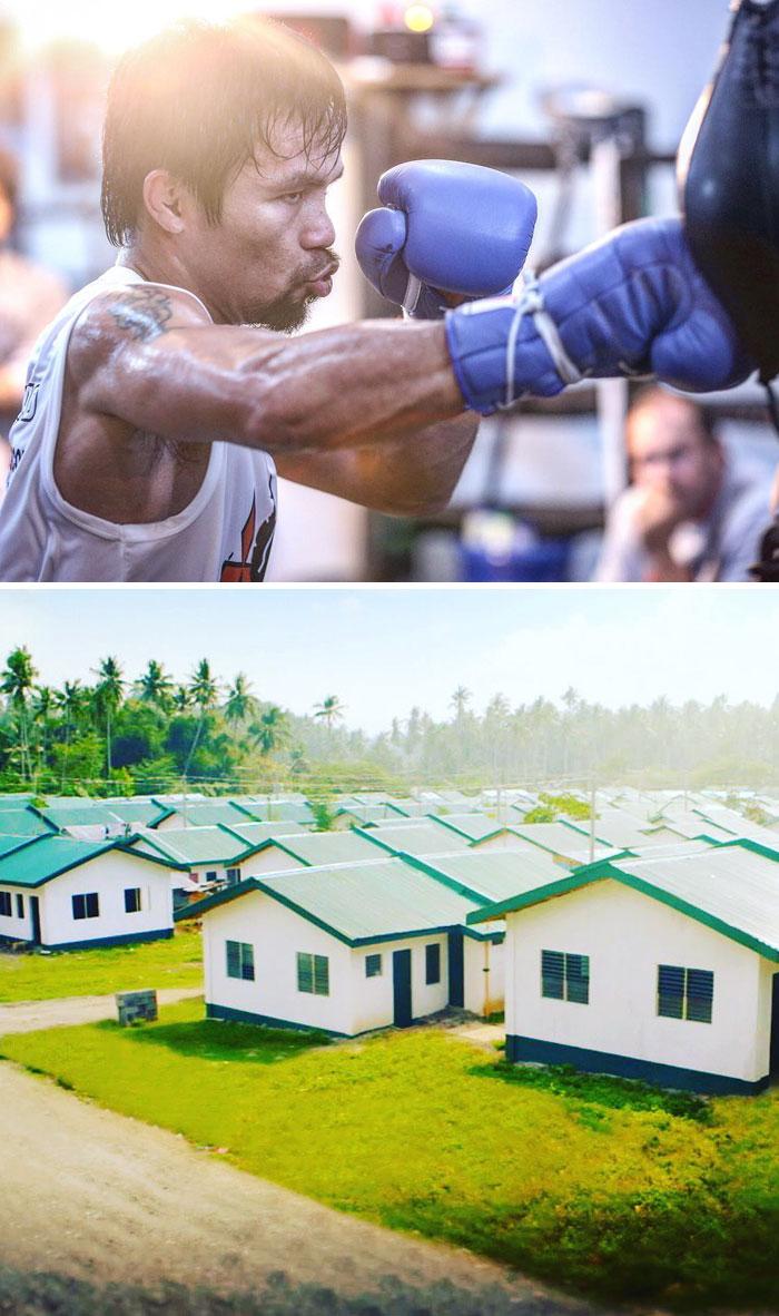Il campione del mondo di pugilato Manny Pacquiao ha fatto costruire mille case per i poveri delle Filippine.