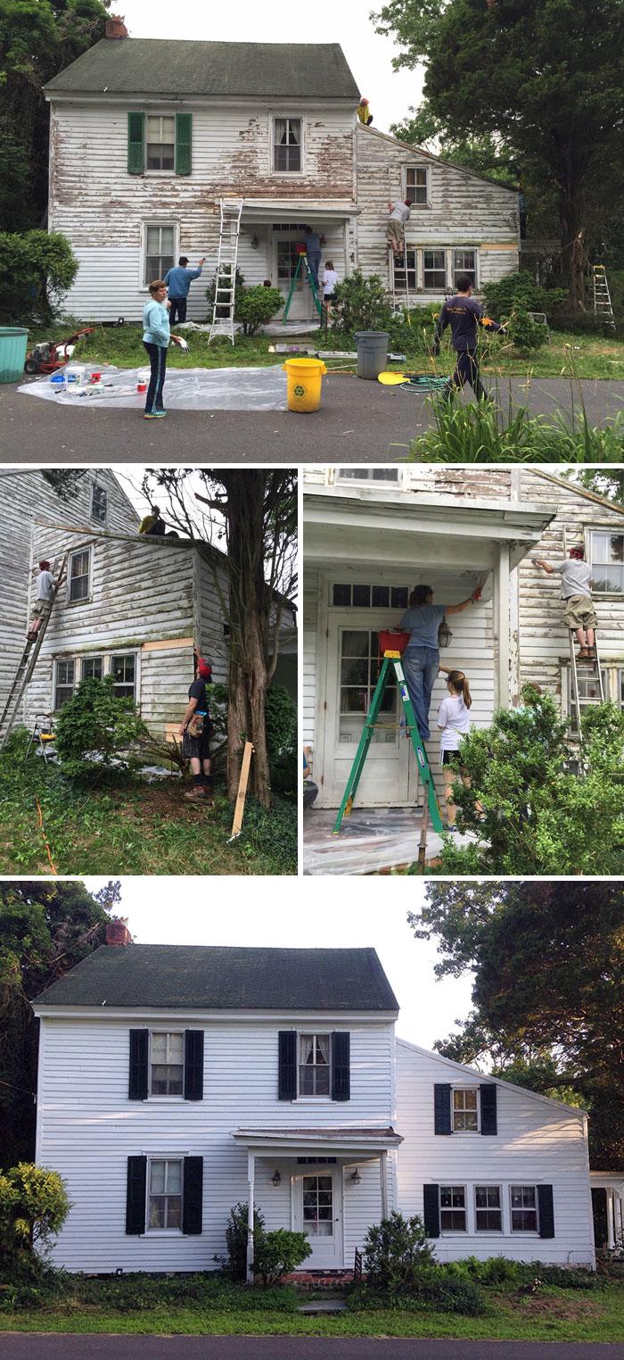 I vicini riparano gratuitamente la casa di un professore in pensione rimasto solo.