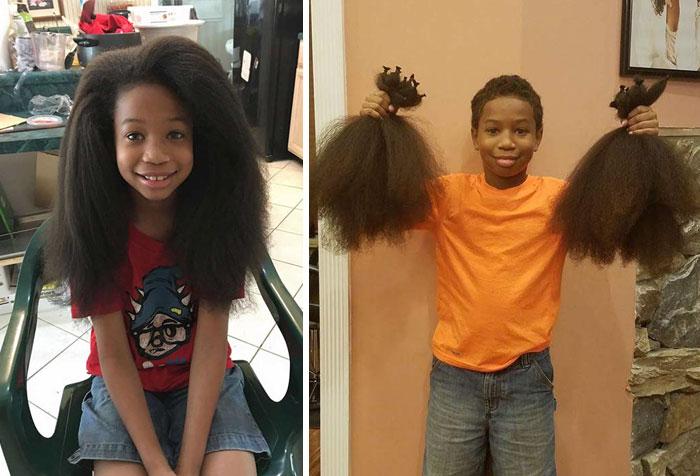 Un bambino di otto anni si è lasciato crescere i capelli per poterli poi donare nella realizzazione di parrucche per i suoi coetanei affetti da cancro.