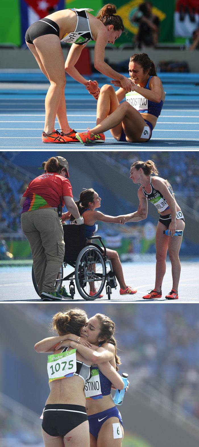Un'atleta olimpionica ha aiutato un'altra concorrente alla gara a rimettersi in piedi. Per tale ragione entrambe sono arrivate ultime alla gara. Sono state poi ammesse alle finali.