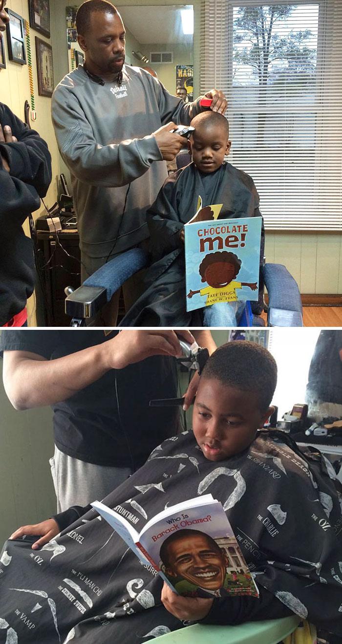 Questo barbiere ha deciso di effettuare gratis dei servizi ai ragazzini che leggono a voce alta.