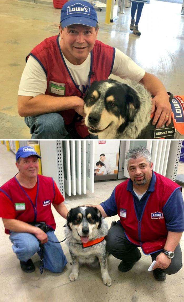 Quest'uomo non poteva avere alcun lavoro a causa della necessità di avere accanto a sé il suo cane d'assistenza. Un negozio lo ha assunto insieme al suo cane.