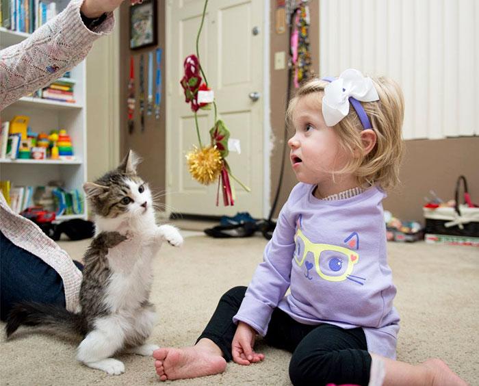 Un gattino con tre zampe adottato da una bambina senza un braccio è diventato il suo migliore amico.