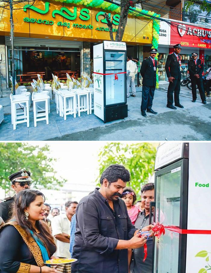 Un ristorante ha messo a disposizione un frigorifero sulla strada per consentire ai poveri di poter prendere il cibo rimasto.