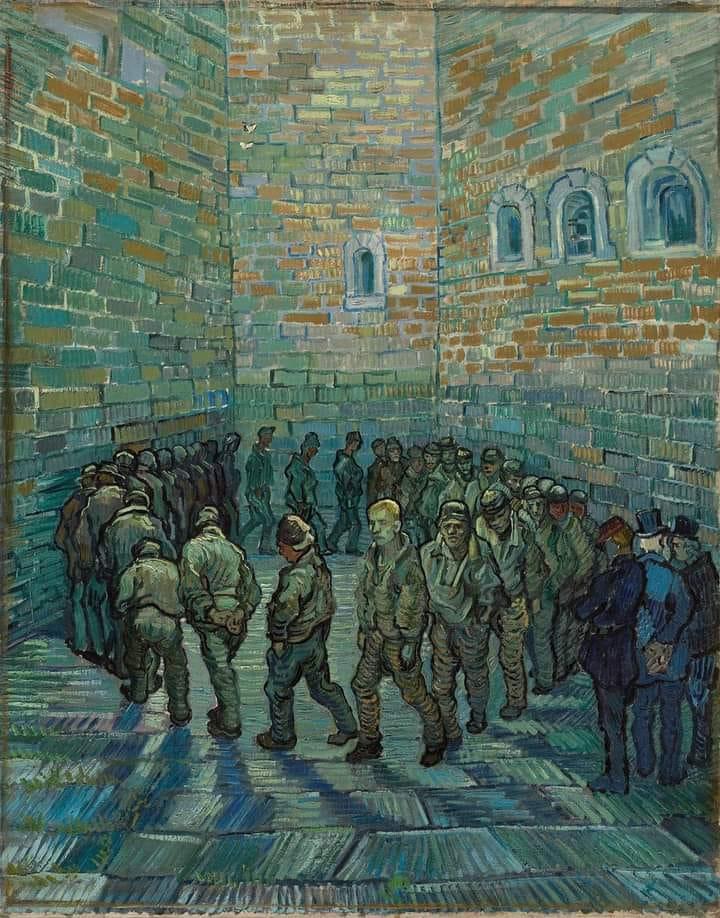 """All'infuori del lavoro tutto era vietato: camminare per strada, distrarsi, cantare, ballare, riunirsi.  George Orwell, 1984.  (Vincent Van Gogh: """"La ronda dei carcerati"""")"""